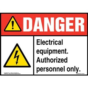 Danger: Electrical Equipment. Authorized Personnel Only Sign with Icon - ANSI
