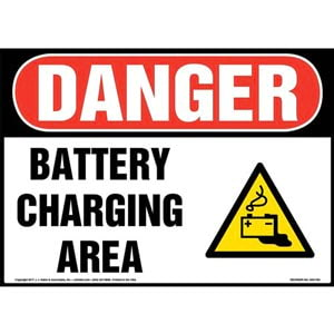 Danger: Battery Charging Area Sign with Icon - OSHA