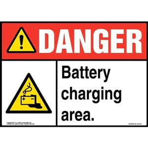 Danger: Battery Charging Area Sign with Icon - ANSI