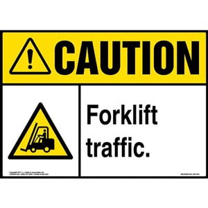 Caution: Forklift Traffic Sign with Icon - ANSI