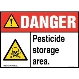 Danger: Pesticide Storage Area Sign with Icon - ANSI