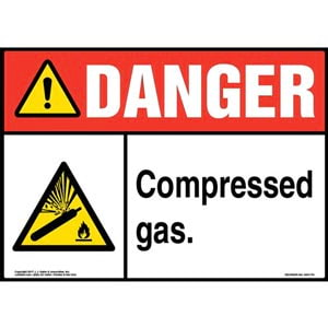 Danger: Compressed Gas Sign with Icon - ANSI