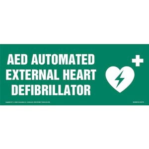 AED Automated External Heart Defibrillator Sign with Icon
