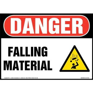 Danger: Falling Material Sign with Icon - OSHA