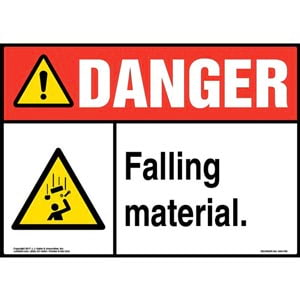 Danger: Falling Material Sign with Icon - ANSI