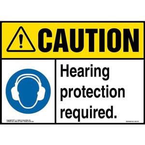 Caution: Hearing Protection Required Sign with Icon - ANSI