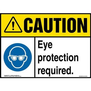 Caution: Eye Protection Required Sign with Icon - ANSI