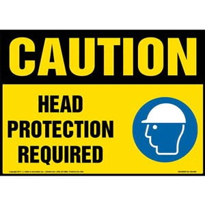 Caution: Head Protection Required Sign with Icon - OSHA
