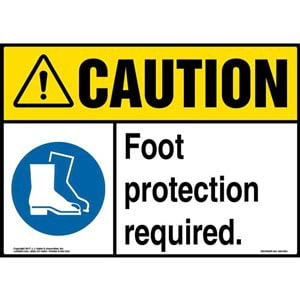 Caution: Foot Protection Required Sign with Icon - ANSI