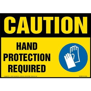 Caution: Hand Protection Required Sign with Icon - OSHA