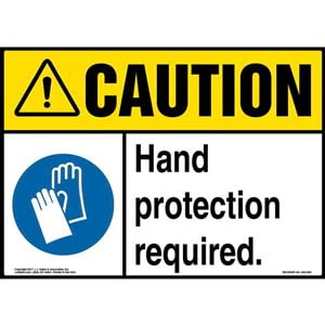 Caution: Hand Protection Required Sign with Icon - ANSI