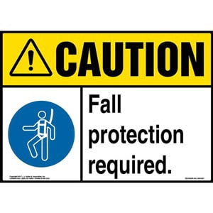 Caution: Fall Protection Required Sign with Icon - ANSI