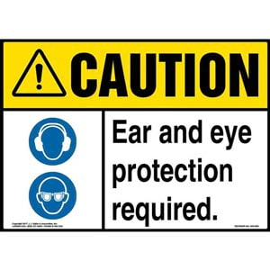 Caution: Ear And Eye Protection Required Sign with Icon - ANSI