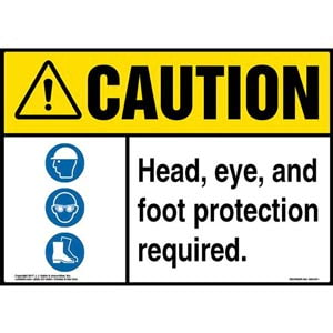 Caution: Head, Eye, And Foot Protection Required Sign with Icon - ANSI