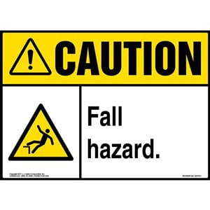 Caution: Fall Hazard Sign with Icon - ANSI