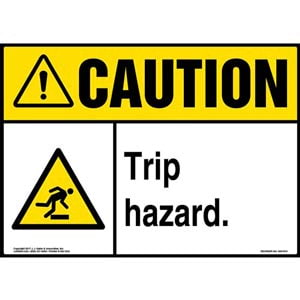 Caution: Trip Hazard Sign with Icon - ANSI