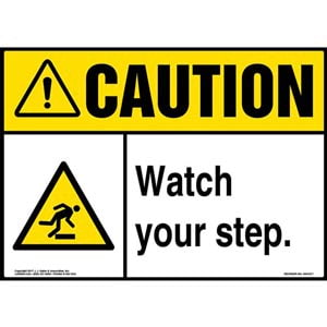 Caution: Watch Your Step Sign with Icon - ANSI