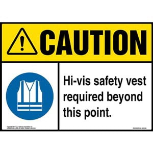 Caution: Hi-Vis Safety Vest Required Beyond This Point Sign with Icon - ANSI