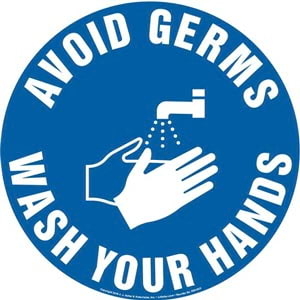 Avoid Germs, Wash Hands Sign with Icon - Round