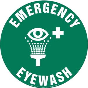 Emergency Eyewash Sign with Icon - Round
