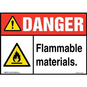 Danger: Flammable Materials Sign with Icon - ANSI