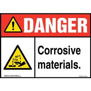 Danger: Corrosive Materials Sign with Icon - ANSI