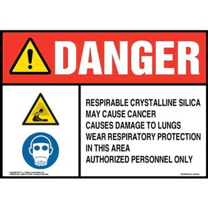 Danger: Respirable Crystalline Silica Sign - ANSI, Hazard & Facepiece Respirator Icons