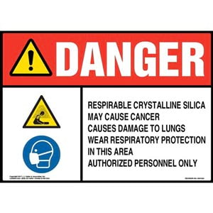 Danger: Respirable Crystalline Silica Sign - ANSI, Hazard & Respirator Icons