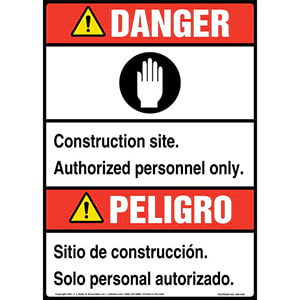 Danger: Construction Site, Authorized Personnel Only Bilingual Sign with Icon - ANSI