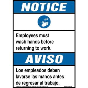 Notice: Employees Must Wash Hands Before Returning To Work Bilingual Sign with Icon - ANSI
