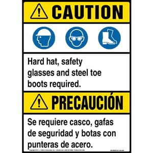 Caution: PPE Must Be Worn Bilingual Sign with Icons - ANSI