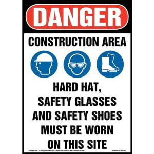 Danger: Construction Area, PPE Must Be Worn Sign with Icons - OSHA