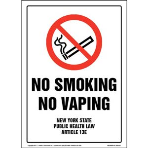 New York State Public Health Law: No Smoking or Vaping Sign