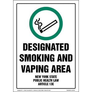New York State Public Health Law: Designated Smoking and Vaping Area Sign