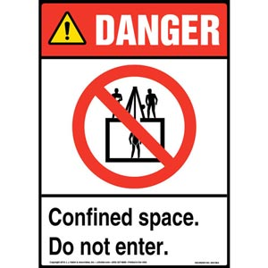 Danger: Confined Space, Do Not Enter Sign with Icon - ANSI
