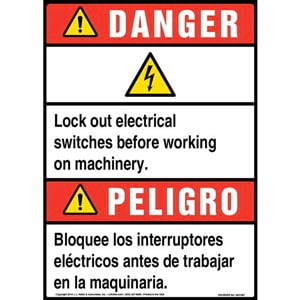 Danger: Lock Out Electrical Switches Bilingual Sign with Icon - ANSI