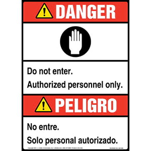 Danger: Do Not Enter, Authorized Personnel Only Bilingual Sign with Icon - ANSI