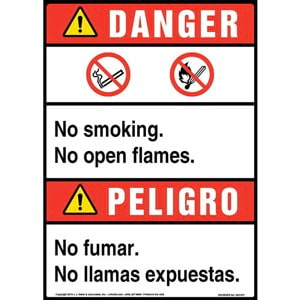 Danger: No Smoking, No Open Flames Bilingual Sign with Icons - ANSI