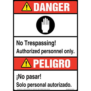 Danger: No Trespassing, Authorized Personnel Only Bilingual Sign with Icon - ANSI