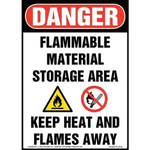 Danger: Flammable Material Storage Area, Keep Heat/Flames Away Sign with Icons - OSHA