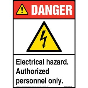 Danger: Electrical Hazard, Authorized Personnel Only Sign with Icon - ANSI