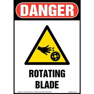 Danger: Rotating Blade Sign with Icon - OSHA, Portrait