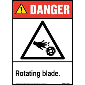 Danger: Rotating Blade Sign with Icon - ANSI, Portrait