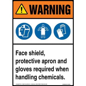 Warning: Face Shield, Protective Apron, Gloves Required When Handling Chemicals Sign with Icons - ANSI