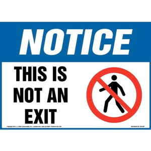 Notice: This Is Not An Exit Sign with Icon - OSHA, Landscape