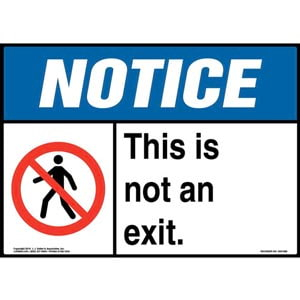 Notice: This Is Not An Exit Sign with Icon - ANSI, Landscape