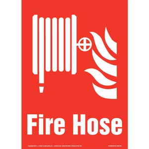 Fire Hose Sign with Icon - Portrait
