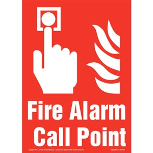 Fire Alarm Call Point Sign with Icon - Portrait