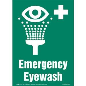 Emergency Eyewash Sign with Icon - Portrait
