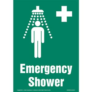 Emergency Shower Sign with Icon - Portrait